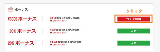 3000円ボーナス欄