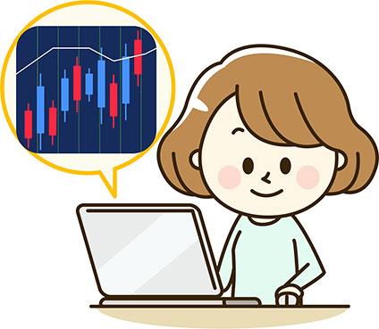 FXチャートを見ている女性