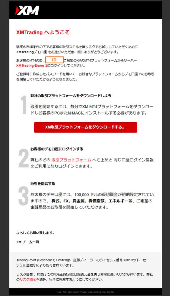 XMからのメール。デモ口座のIDとパスワードが記載。