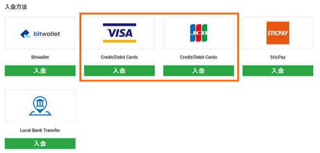 クレジットカードの入金手順