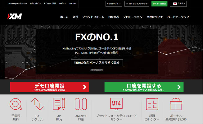 XM公式サイトLP画面