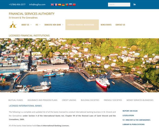 セントビンセント・グラナディーン金融庁公式ホームページ