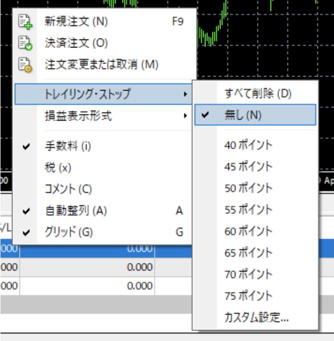 トレイリング・ストップ→「無し」