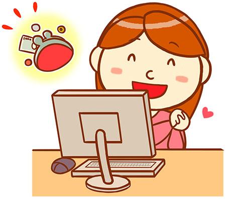 パソコンでお金を得た女性