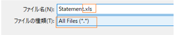 「.xls」「All Files」