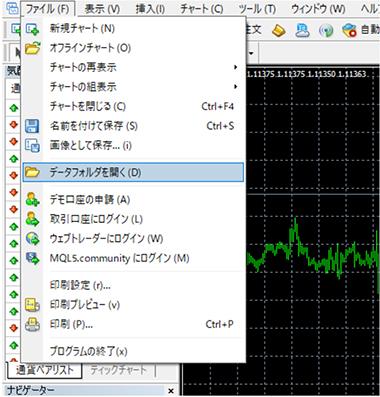 MT4のメニューバーの「ファイル」から「データフォルダを開く」を選択