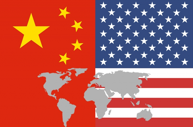 アメリカと中国の国旗
