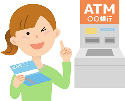 ATM前で通帳を持ってウインクしている女性