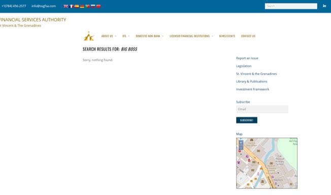 セントビンセント・グラナディーン金融庁でビッグボスを検索してみたところ