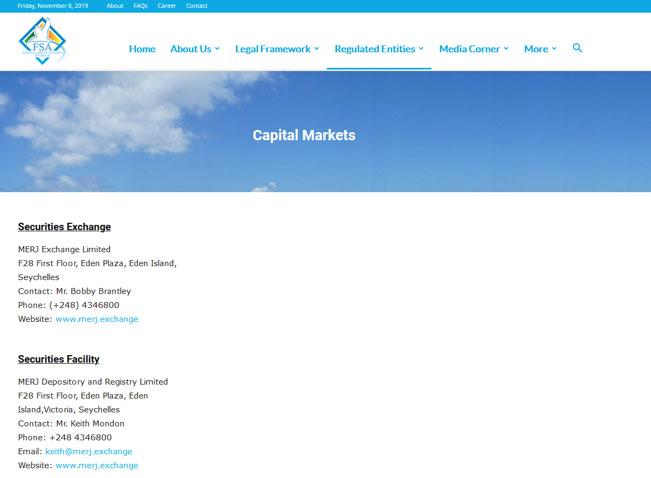セーシェル金融庁公式ホームページ