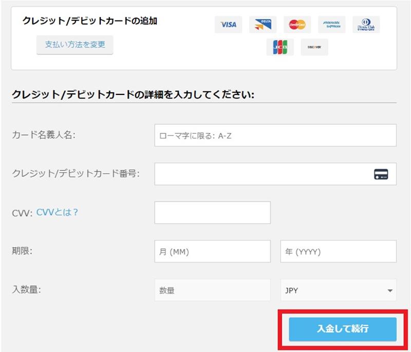 クレジット/デビットカード情報入力フォーム