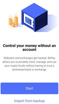 bitpayのスタートボタン