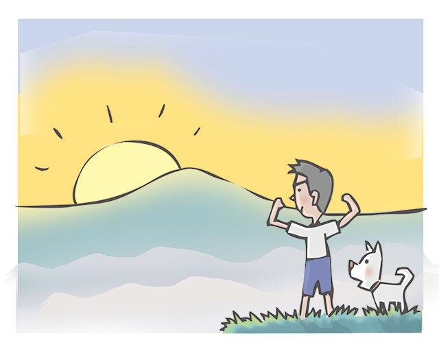 早朝、朝日を見る男の子と犬